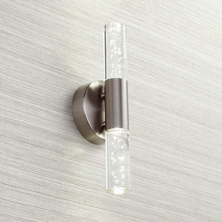 """Picture of Natalya Bubble Acrylic 13""""H Brushed Nickel LED Wall Sconce"""