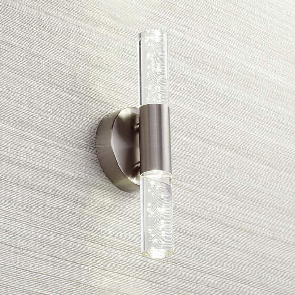 "Picture of Natalya Bubble Acrylic 13""H Brushed Nickel LED Wall Sconce"