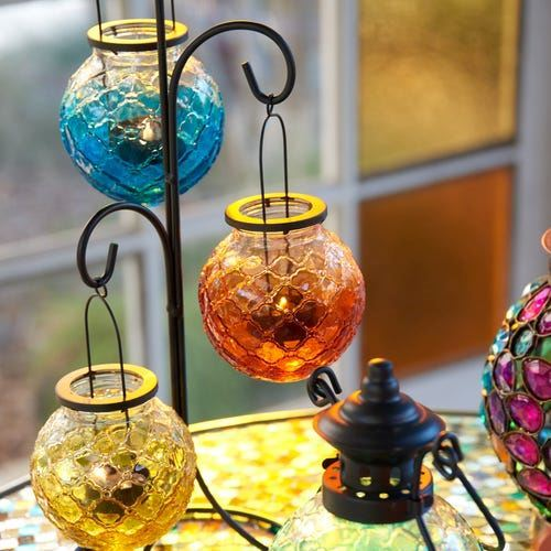 Picture of Medallion Ombre Glass Hanging Tealight Lantern