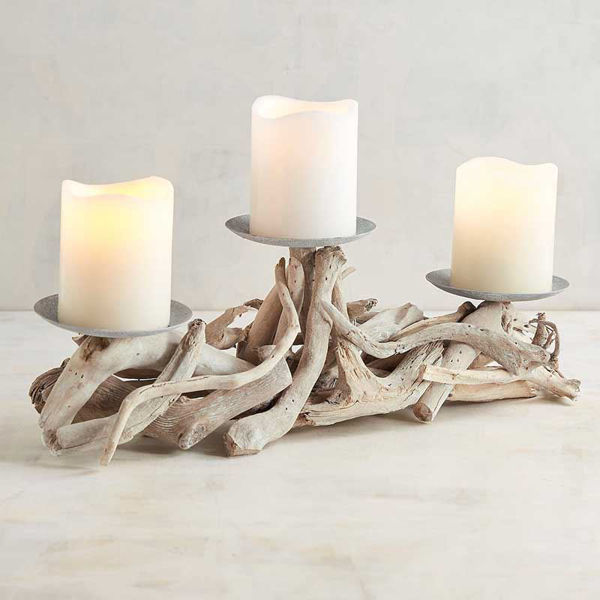 Picture of Gray Driftwood Centerpiece Candle Holder