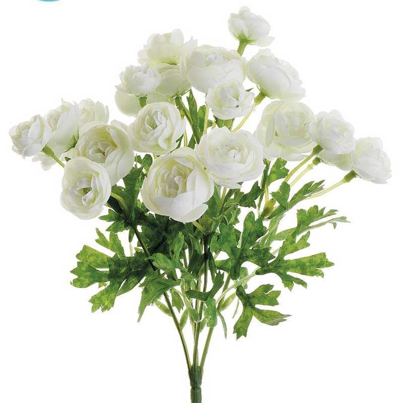 Picture of Mini Silk Ranunculus Bush in White Cream