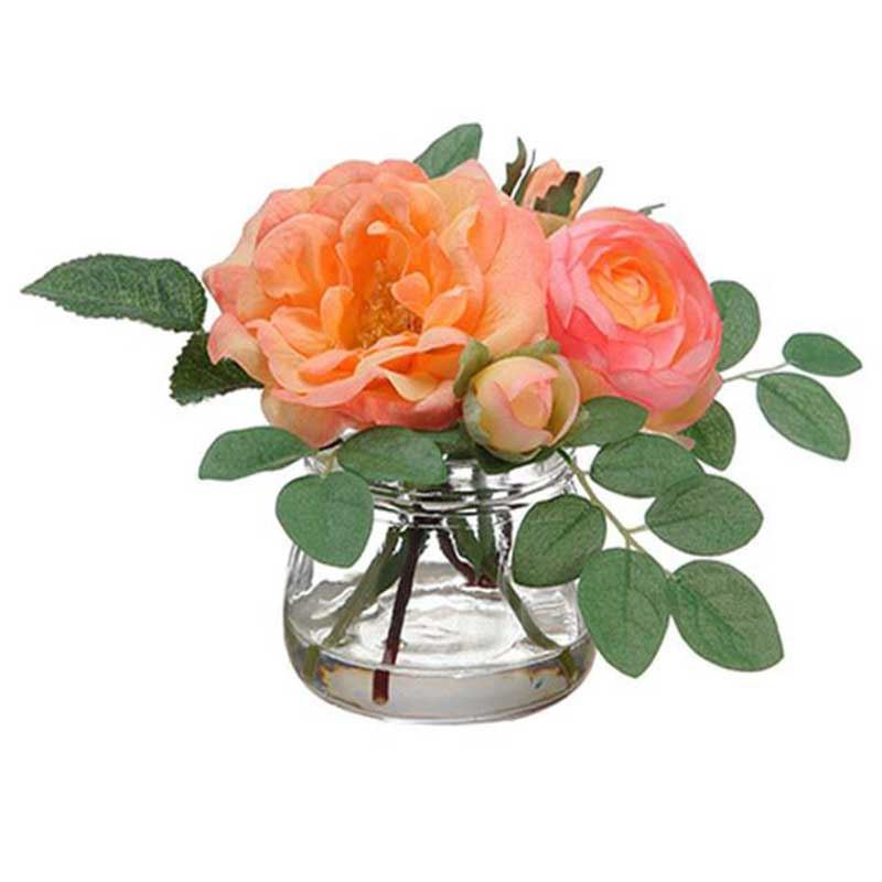 Picture of Coral Rose & Ranunculus Silk Arrangement in Vase