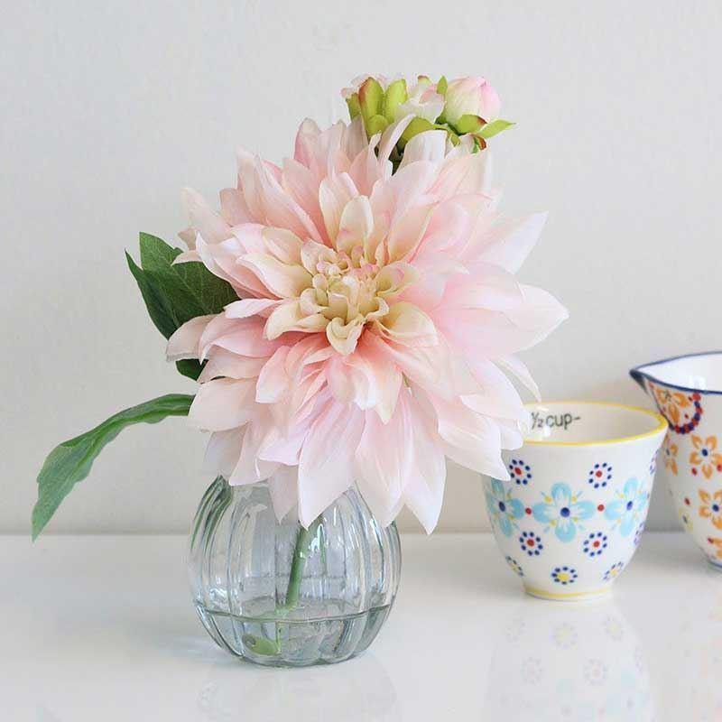 Picture of Pastel Pink Silk Dahlia Arrangement in Glass Vase
