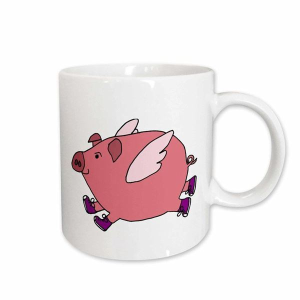 Picture of Funny Flying Pig in Sneakers Coffee Mug